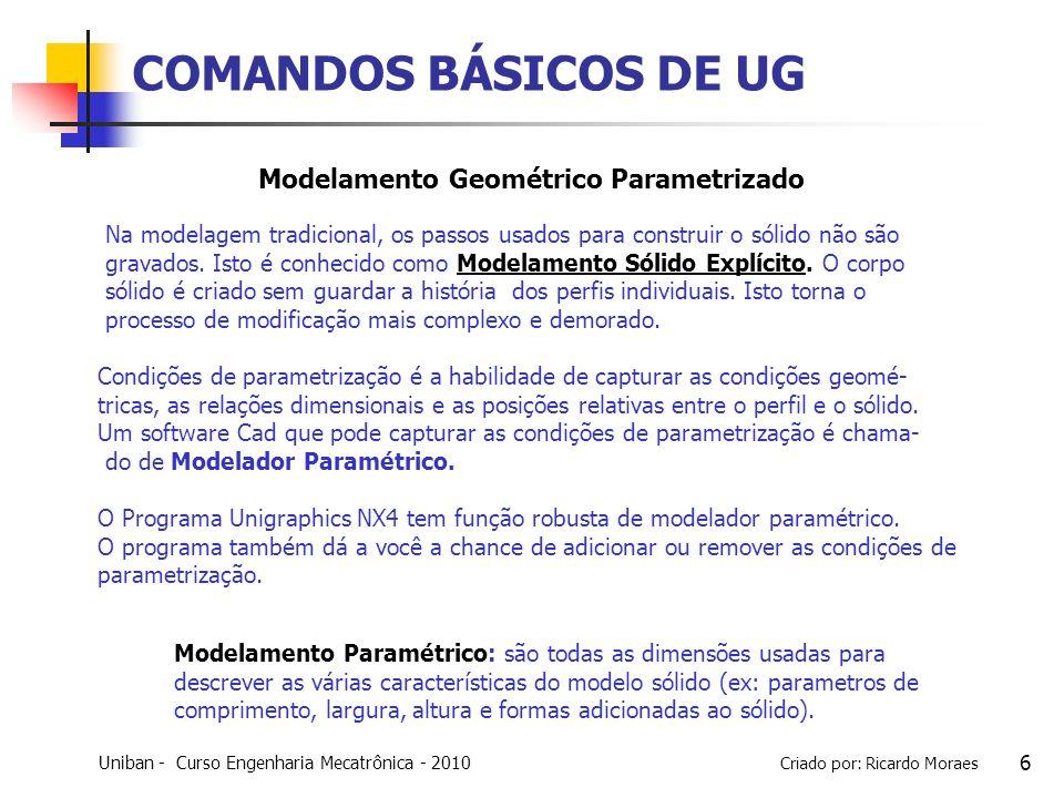 Uniban - Curso Engenharia Mecatrônica - 2010 Criado por: Ricardo Moraes 7 COMANDOS BÁSICOS DE UG A estrutura do Modelamento geométrico parametrizado é mostrado no Part Navigator.
