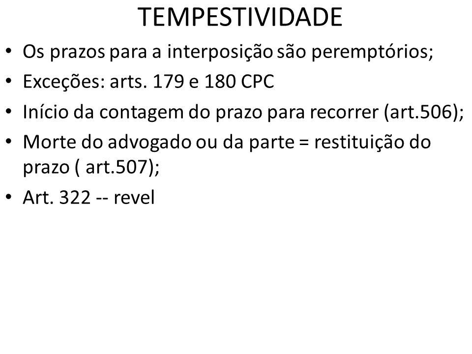 TEMPESTIVIDADE Os prazos para a interposição são peremptórios; Exceções: arts. 179 e 180 CPC Início da contagem do prazo para recorrer (art.506); Mort