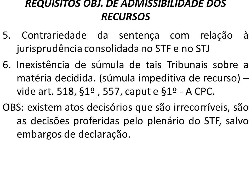 REQUISITOS OBJ. DE ADMISSIBILIDADE DOS RECURSOS 5. Contrariedade da sentença com relação à jurisprudência consolidada no STF e no STJ 6. Inexistência