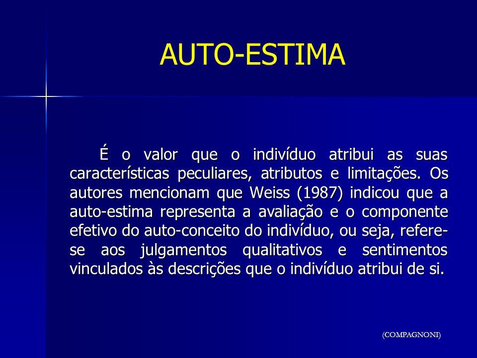 AUTO-ESTIMA É o valor que o indivíduo atribui as suas características peculiares, atributos e limitações. Os autores mencionam que Weiss (1987) indico