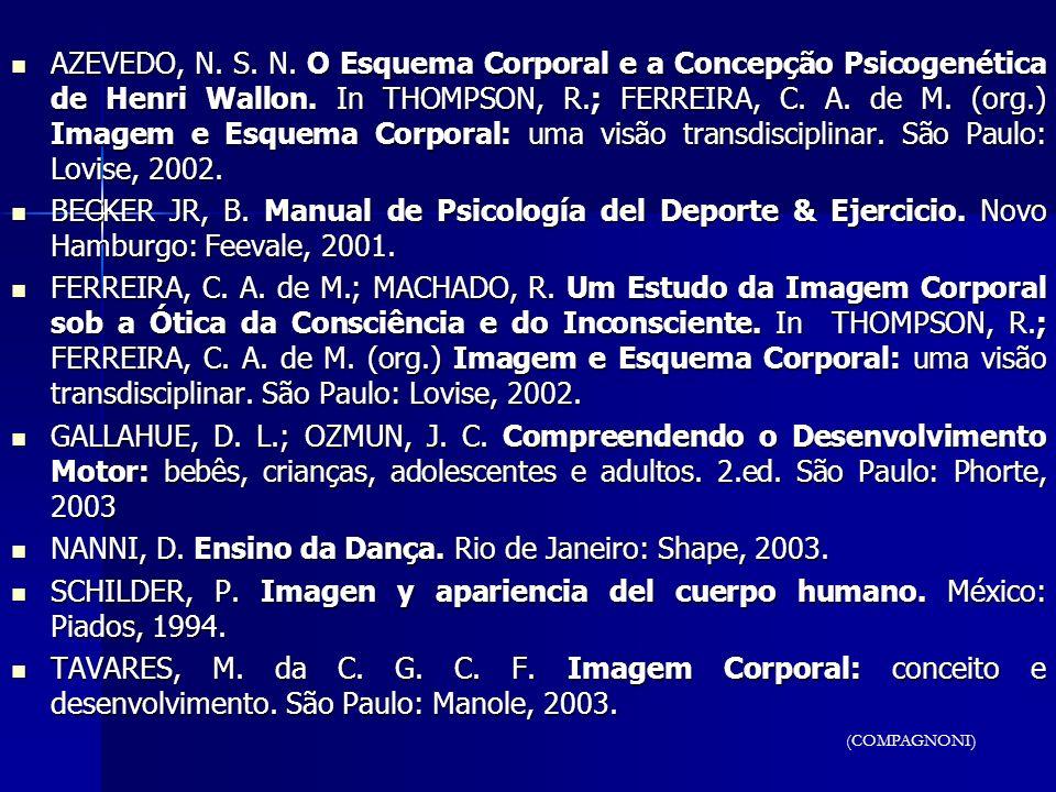 AZEVEDO, N. S. N. O Esquema Corporal e a Concepção Psicogenética de Henri Wallon. In THOMPSON, R.; FERREIRA, C. A. de M. (org.) Imagem e Esquema Corpo