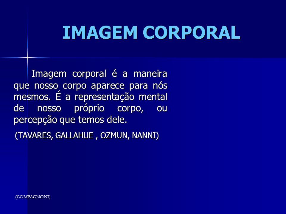 IMAGEM CORPORAL Imagem corporal é a maneira que nosso corpo aparece para nós mesmos. É a representação mental de nosso próprio corpo, ou percepção que