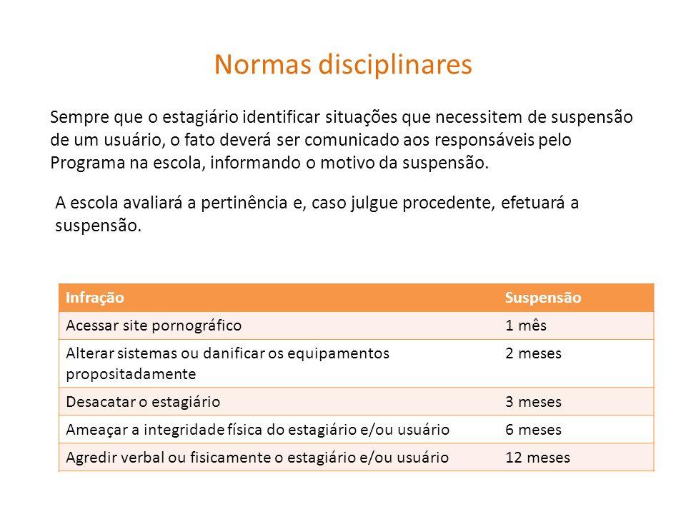 Normas disciplinares Sempre que o estagiário identificar situações que necessitem de suspensão de um usuário, o fato deverá ser comunicado aos respons