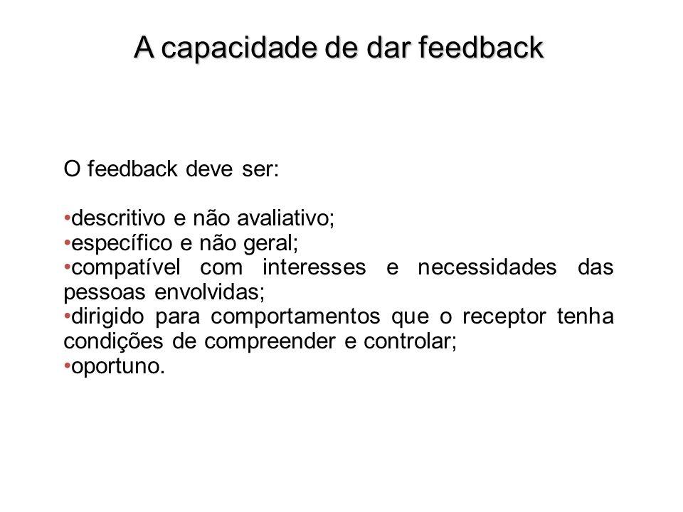 A capacidade de dar feedback O feedback deve ser: descritivo e não avaliativo; específico e não geral; compatível com interesses e necessidades das pe