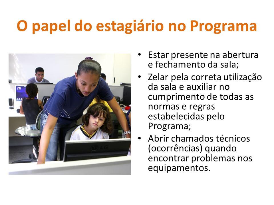 O papel do estagiário no Programa Estar presente na abertura e fechamento da sala; Zelar pela correta utilização da sala e auxiliar no cumprimento de