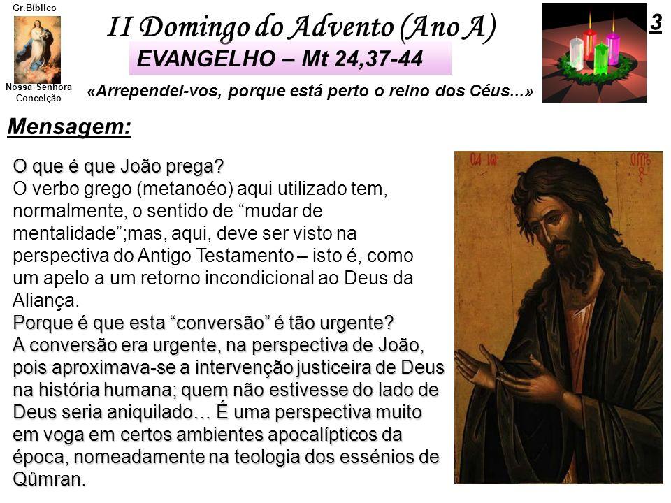 II Domingo do Advento (Ano A) Nossa Senhora Conceição Gr.Bíblico O que é que João prega? O verbo grego (metanoéo) aqui utilizado tem, normalmente, o s
