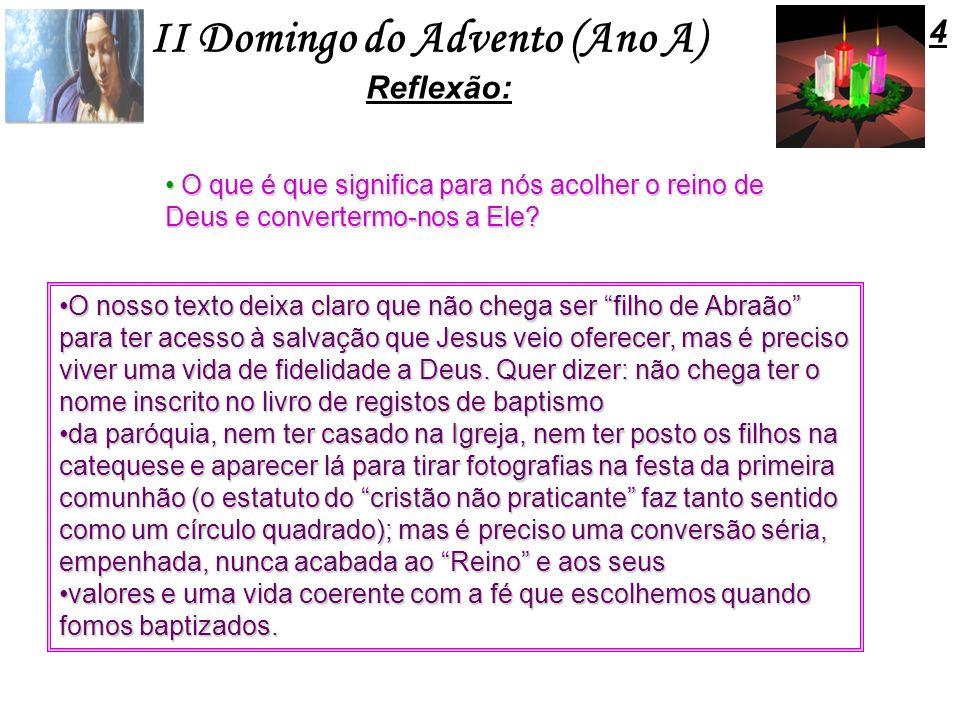 II Domingo do Advento (Ano A) O que é que significa para nós acolher o reino de Deus e convertermo-nos a Ele? O que é que significa para nós acolher o