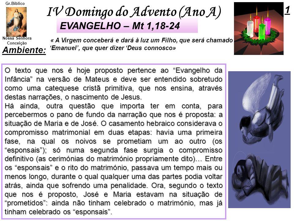 IV Domingo do Advento (Ano A) Nossa Senhora Conceição Gr.Bíblico Ambiente: O texto que nos é hoje proposto pertence ao Evangelho da Infância na versão