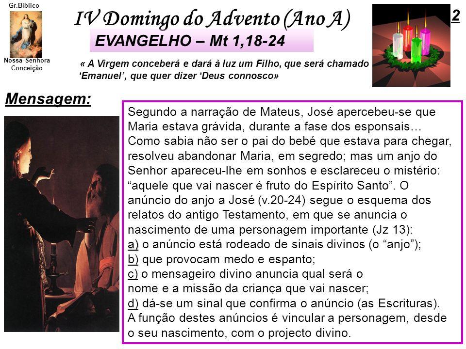 IV Domingo do Advento (Ano A) Nossa Senhora Conceição Gr.Bíblico Mensagem: Segundo a narração de Mateus, José apercebeu-se que Maria estava grávida, d