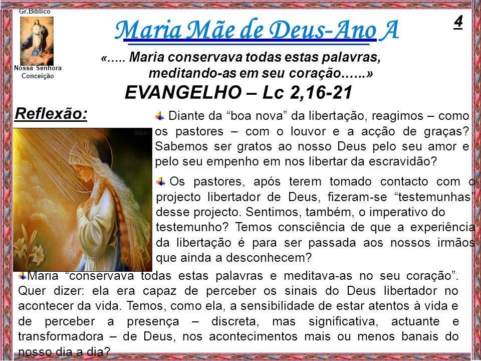 Maria Mãe de Deus-Ano A Diante da boa nova da libertação, reagimos – como os pastores – com o louvor e a acção de graças? Sabemos ser gratos ao nosso