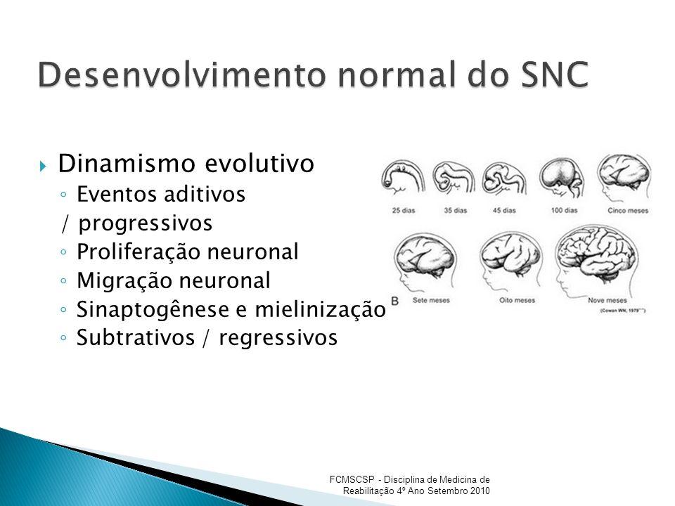 Dinamismo evolutivo Eventos aditivos / progressivos Proliferação neuronal Migração neuronal Sinaptogênese e mielinização Subtrativos / regressivos FCM