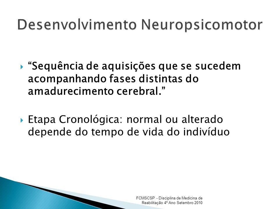 Sequência de aquisições que se sucedem acompanhando fases distintas do amadurecimento cerebral. Etapa Cronológica: normal ou alterado depende do tempo