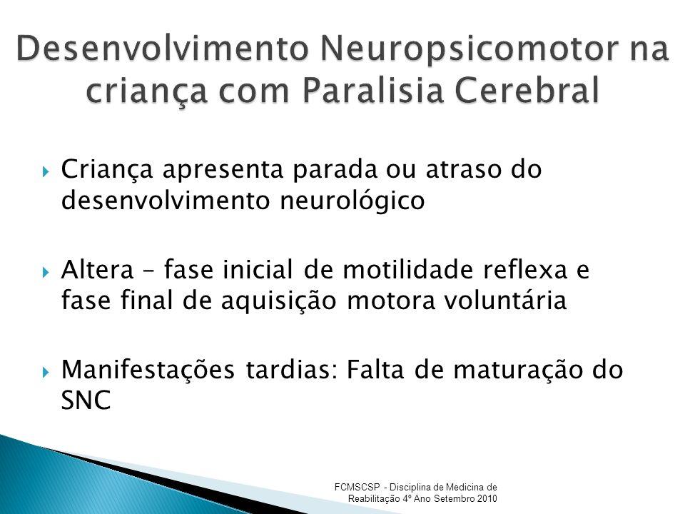 Criança apresenta parada ou atraso do desenvolvimento neurológico Altera – fase inicial de motilidade reflexa e fase final de aquisição motora voluntá
