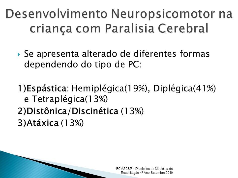 Se apresenta alterado de diferentes formas dependendo do tipo de PC: 1)Espástica: Hemiplégica(19%), Diplégica(41%) e Tetraplégica(13%) 2)Distônica/Dis