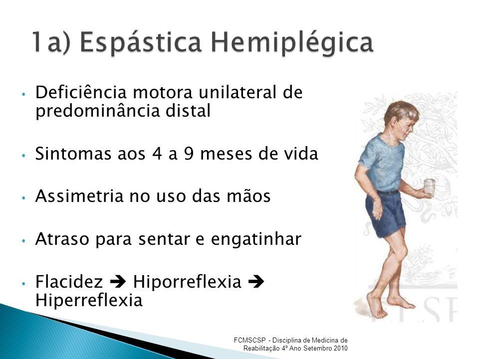Deficiência motora unilateral de predominância distal Sintomas aos 4 a 9 meses de vida Assimetria no uso das mãos Atraso para sentar e engatinhar Flac