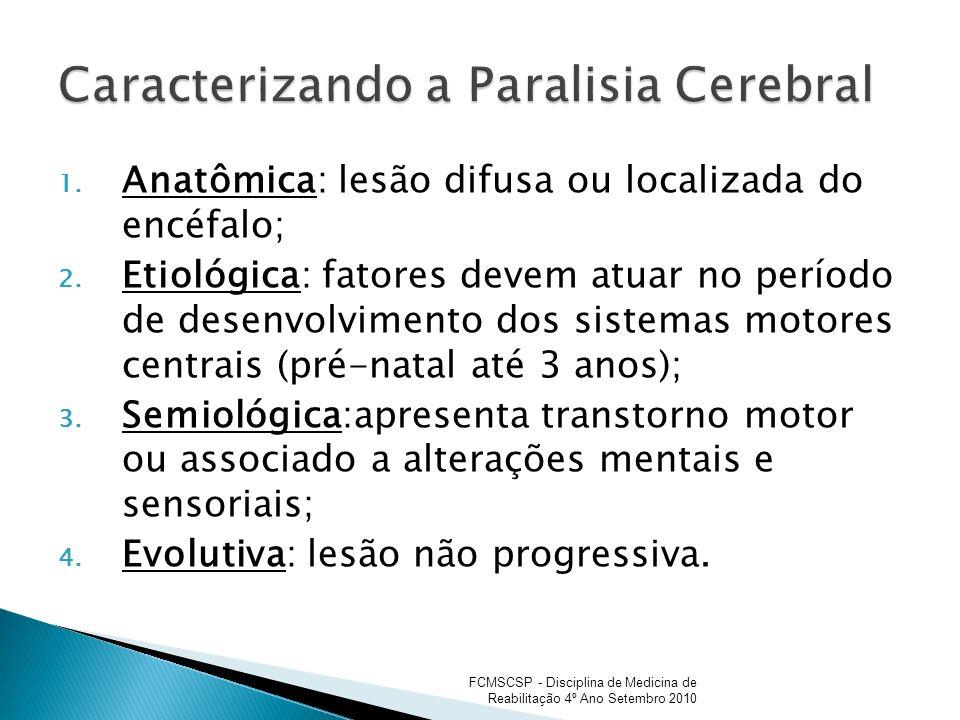 1. Anatômica: lesão difusa ou localizada do encéfalo; 2. Etiológica: fatores devem atuar no período de desenvolvimento dos sistemas motores centrais (