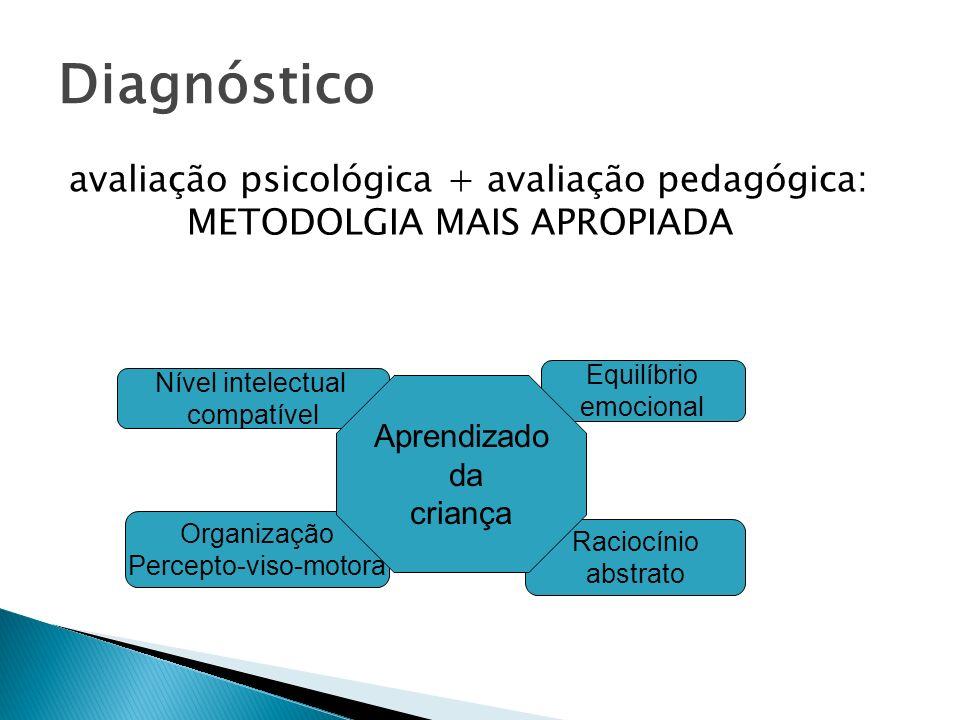 Diagnóstico avaliação psicológica + avaliação pedagógica: METODOLGIA MAIS APROPIADA Nível intelectual compatível Equilíbrio emocional Organização Perc
