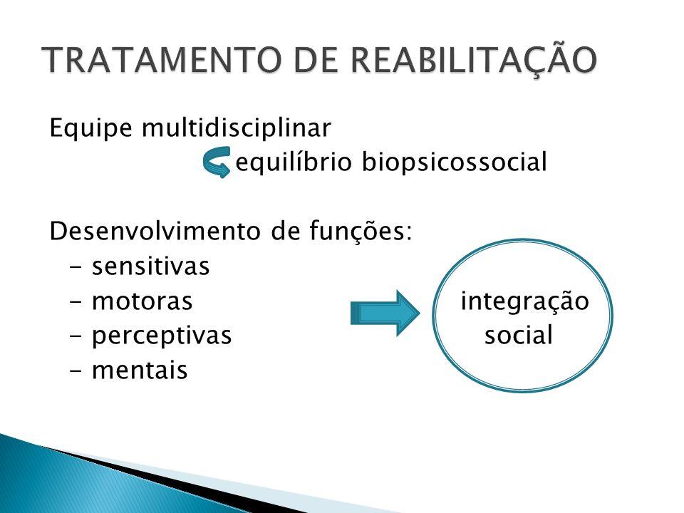 Equipe multidisciplinar equilíbrio biopsicossocial Desenvolvimento de funções: - sensitivas - motoras integração - perceptivas social - mentais