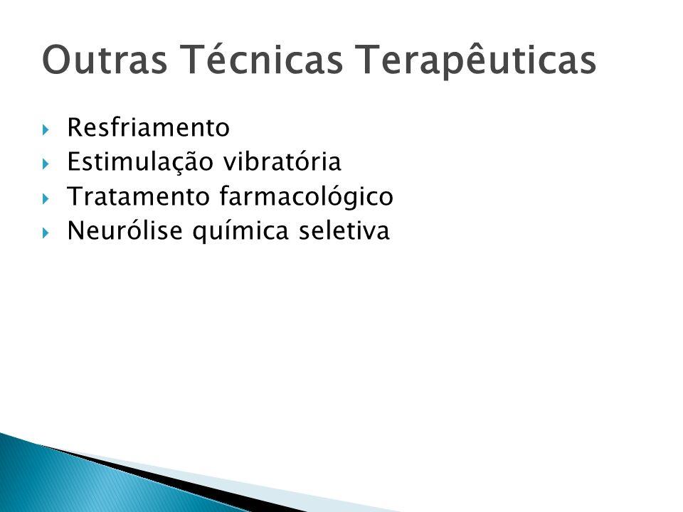 Outras Técnicas Terapêuticas Resfriamento Estimulação vibratória Tratamento farmacológico Neurólise química seletiva