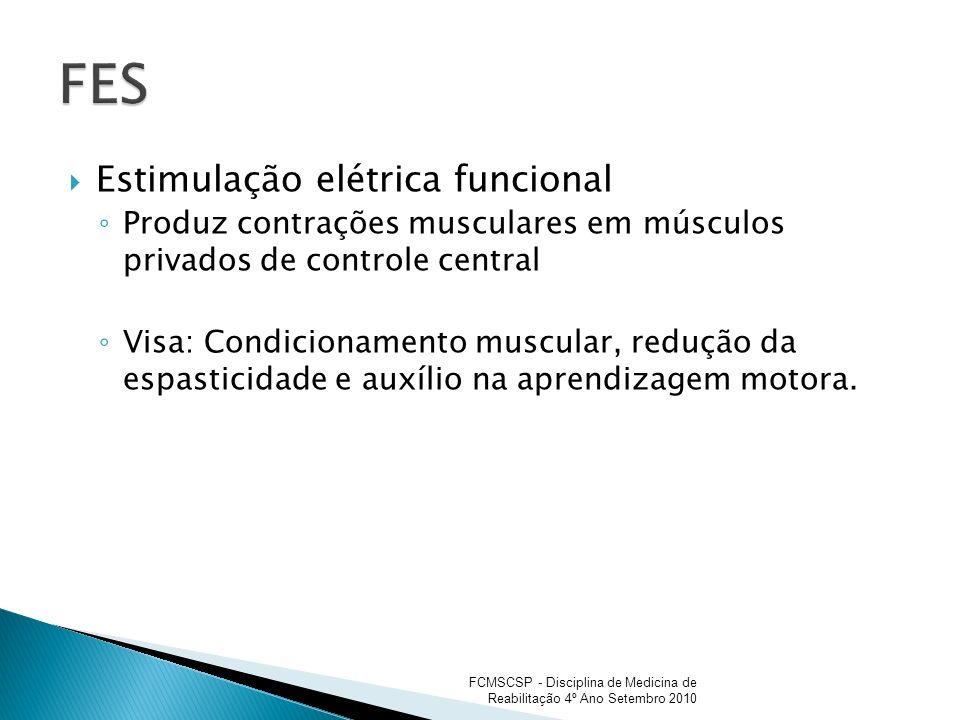 Estimulação elétrica funcional Produz contrações musculares em músculos privados de controle central Visa: Condicionamento muscular, redução da espast