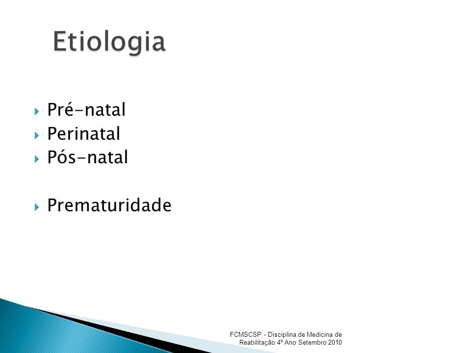 Infecções Congênitas (rubéola, CMV, toxoplasmose); Hipoxemia (anemia da gestante, descolamento prematura da placenta, circular do cordão, eclâmpsia); Distúrbios Metabólicos (DM materno, subnutrição da gestante); Transtornos Tóxicos (medicamentos, raio X).