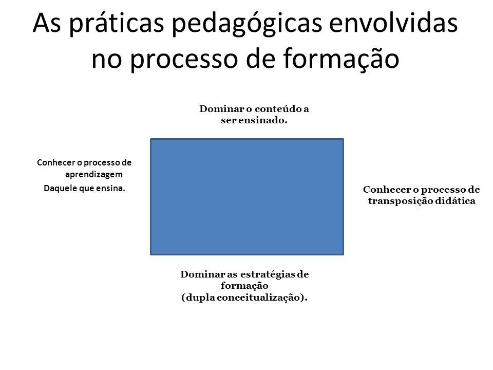 As práticas pedagógicas envolvidas no processo de formação Conhecer o processo de aprendizagem Daquele que ensina. Dominar as estratégias de formação