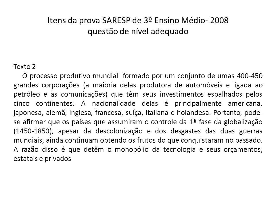 Itens da prova SARESP de 3º Ensino Médio- 2008 questão de nível adequado Texto 2 O processo produtivo mundial formado por um conjunto de umas 400-450