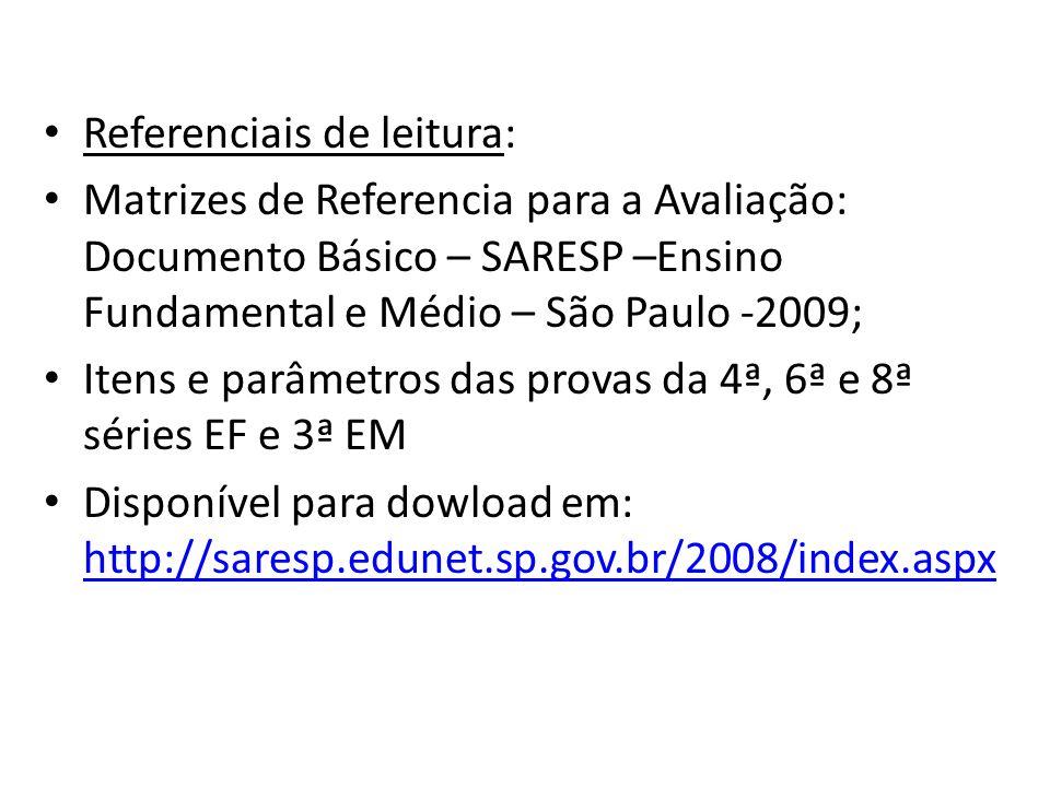 Referenciais de leitura: Matrizes de Referencia para a Avaliação: Documento Básico – SARESP –Ensino Fundamental e Médio – São Paulo -2009; Itens e par