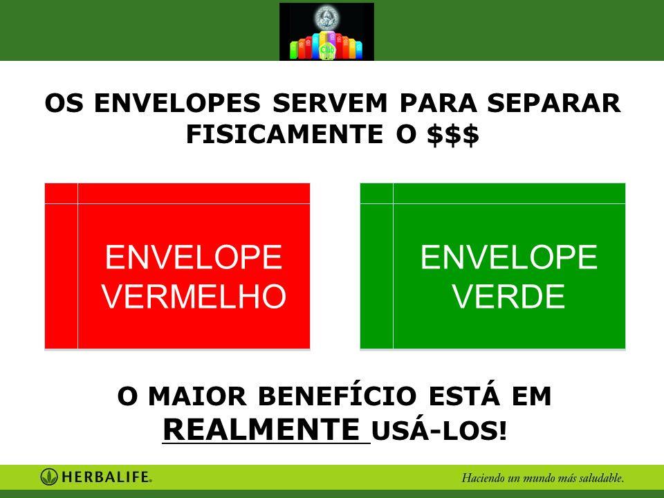 OS ENVELOPES SERVEM PARA SEPARAR FISICAMENTE O $$$ O MAIOR BENEFÍCIO ESTÁ EM REALMENTE USÁ-LOS! ENVELOPE VERMELHO ENVELOPE VERDE