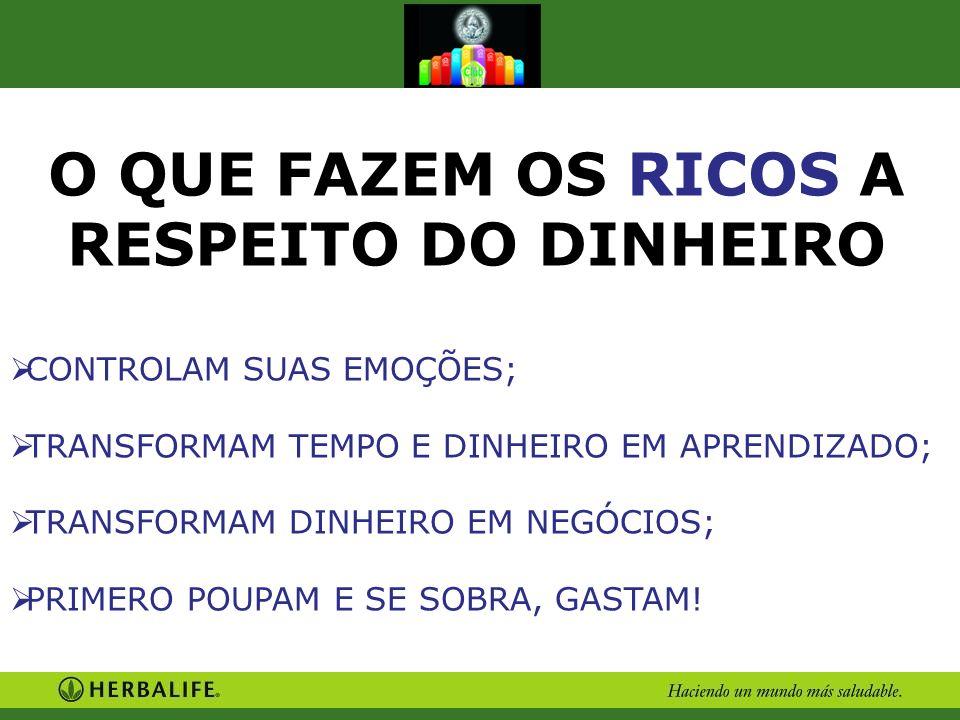 O QUE FAZEM OS RICOS A RESPEITO DO DINHEIRO CONTROLAM SUAS EMOÇÕES; TRANSFORMAM TEMPO E DINHEIRO EM APRENDIZADO; TRANSFORMAM DINHEIRO EM NEGÓCIOS; PRI