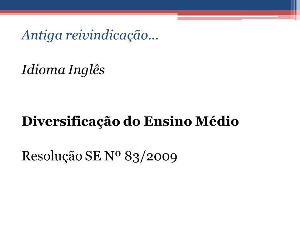 Antiga reivindicação... Idioma Inglês Diversificação do Ensino Médio Resolução SE Nº 83/2009