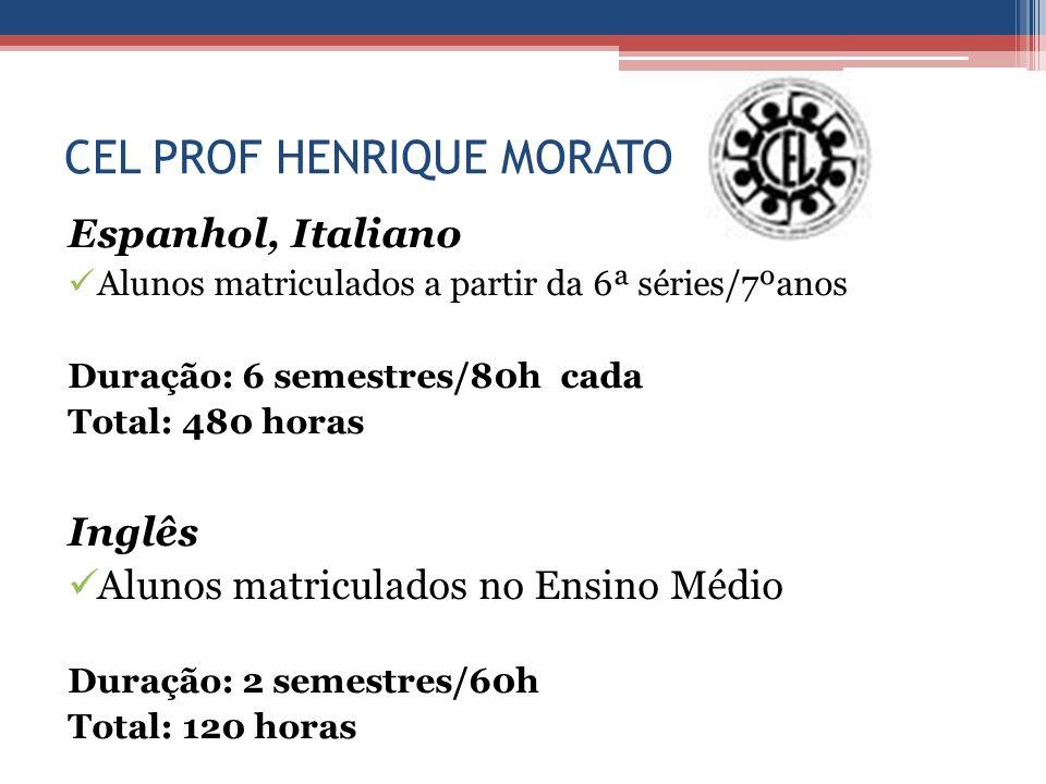 CEL PROF HENRIQUE MORATO Espanhol, Italiano Alunos matriculados a partir da 6ª séries/7ºanos Duração: 6 semestres/80h cada Total: 480 horas Inglês Alu