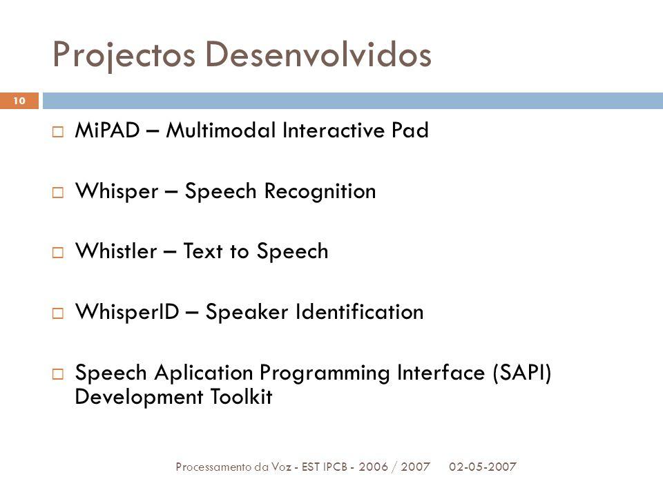 Projectos Desenvolvidos 02-05-2007Processamento da Voz - EST IPCB - 2006 / 2007 10 MiPAD – Multimodal Interactive Pad Whisper – Speech Recognition Whi