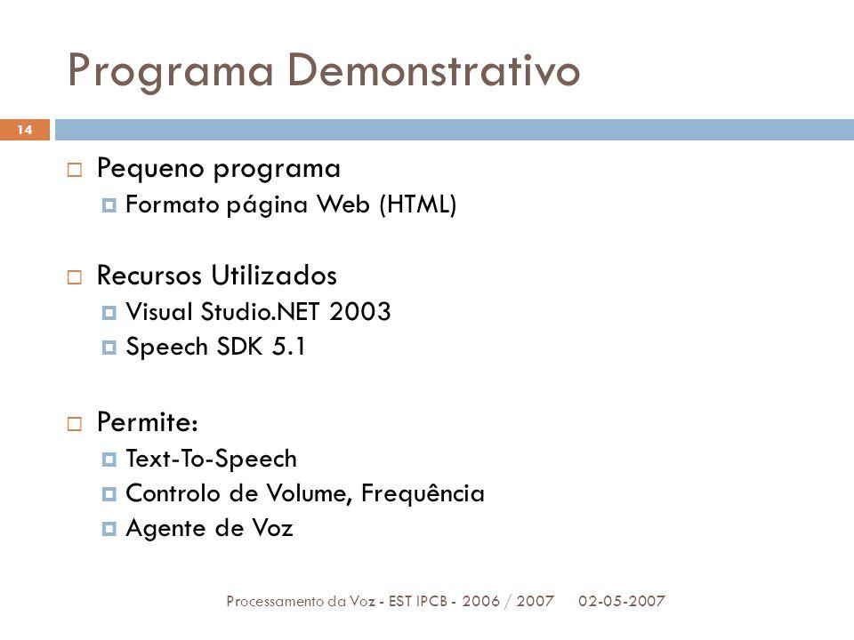 Programa Demonstrativo 02-05-2007Processamento da Voz - EST IPCB - 2006 / 2007 14 Pequeno programa Formato página Web (HTML) Recursos Utilizados Visua