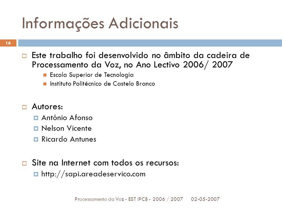 Informações Adicionais 02-05-2007Processamento da Voz - EST IPCB - 2006 / 2007 16 Este trabalho foi desenvolvido no âmbito da cadeira de Processamento
