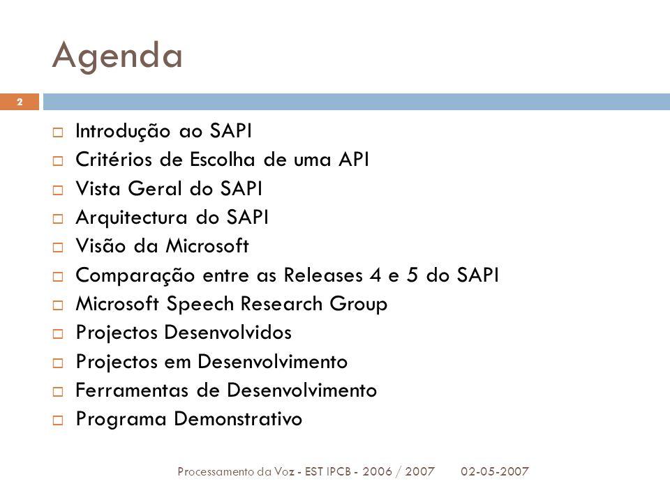 Agenda 02-05-2007Processamento da Voz - EST IPCB - 2006 / 2007 2 Introdução ao SAPI Critérios de Escolha de uma API Vista Geral do SAPI Arquitectura d