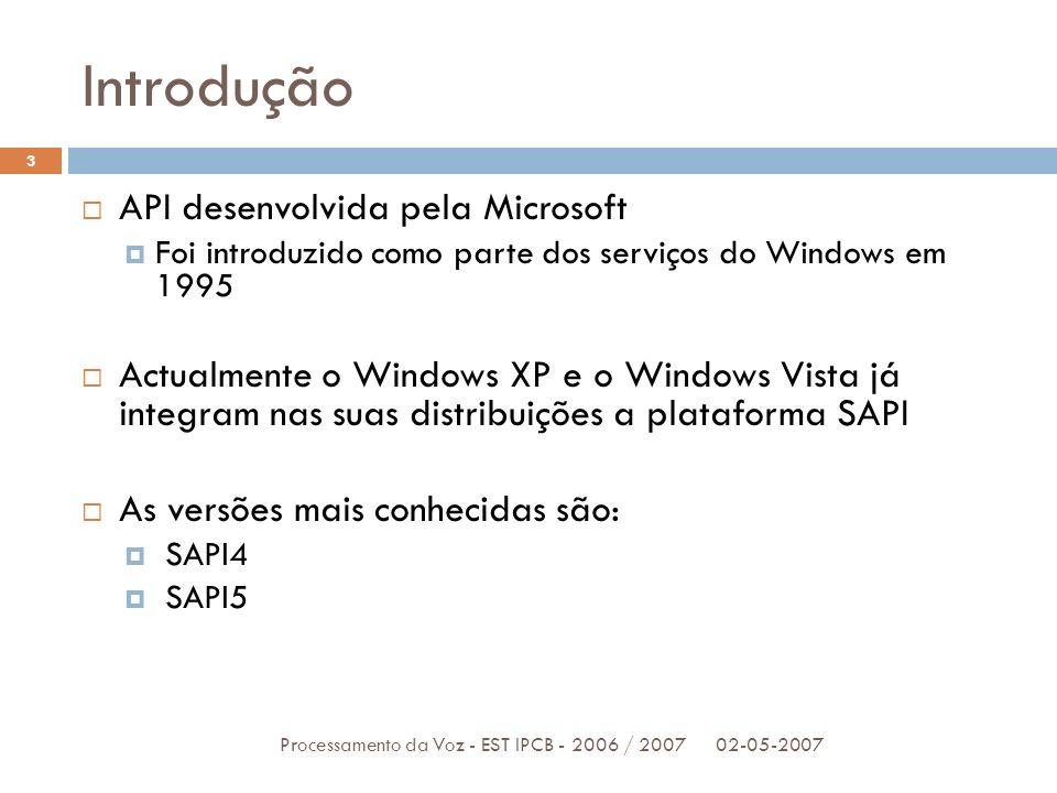 Introdução 02-05-2007Processamento da Voz - EST IPCB - 2006 / 2007 3 API desenvolvida pela Microsoft Foi introduzido como parte dos serviços do Window