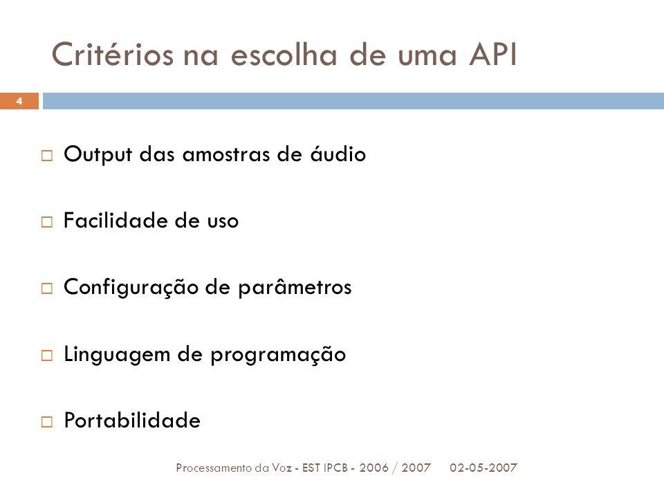 Critérios na escolha de uma API 02-05-2007Processamento da Voz - EST IPCB - 2006 / 2007 4 Output das amostras de áudio Facilidade de uso Configuração