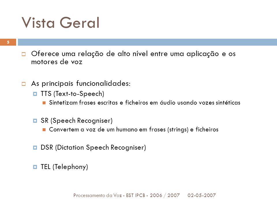 Vista Geral 02-05-2007Processamento da Voz - EST IPCB - 2006 / 2007 5 Oferece uma relação de alto nível entre uma aplicação e os motores de voz As pri