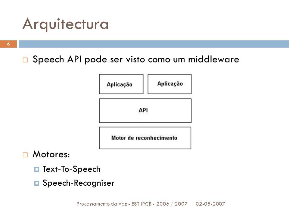 Arquitectura 02-05-2007Processamento da Voz - EST IPCB - 2006 / 2007 6 Speech API pode ser visto como um middleware Motores: Text-To-Speech Speech-Rec