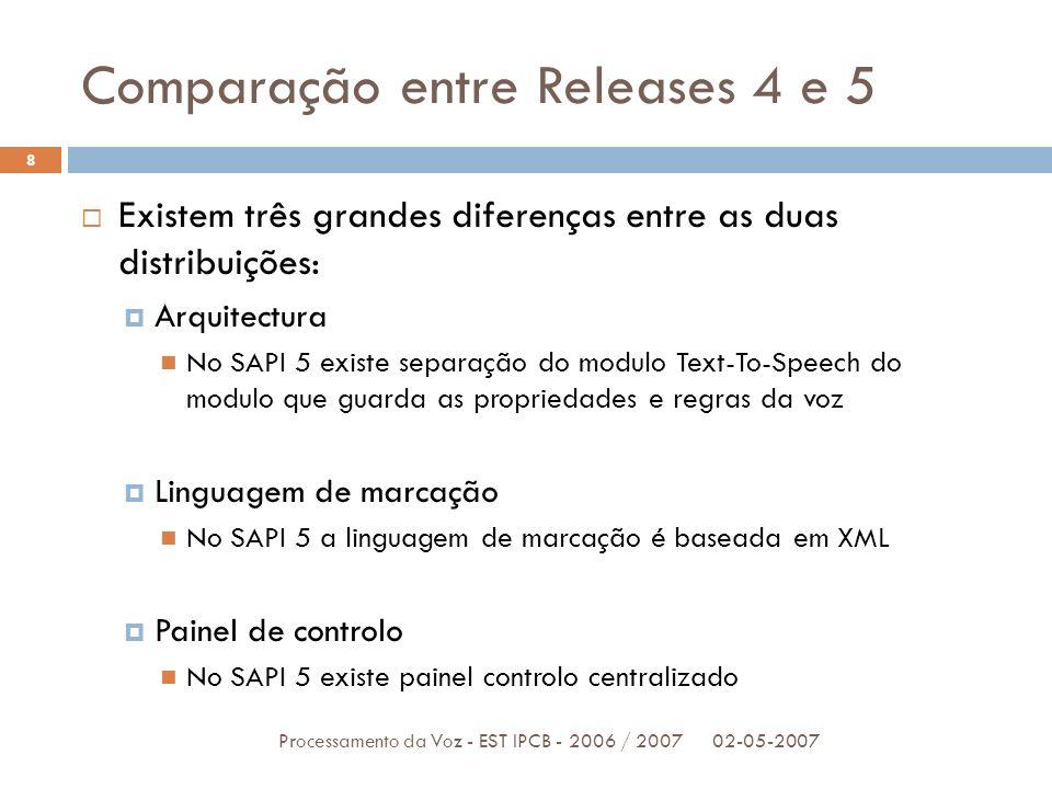 Comparação entre Releases 4 e 5 02-05-2007Processamento da Voz - EST IPCB - 2006 / 2007 8 Existem três grandes diferenças entre as duas distribuições: