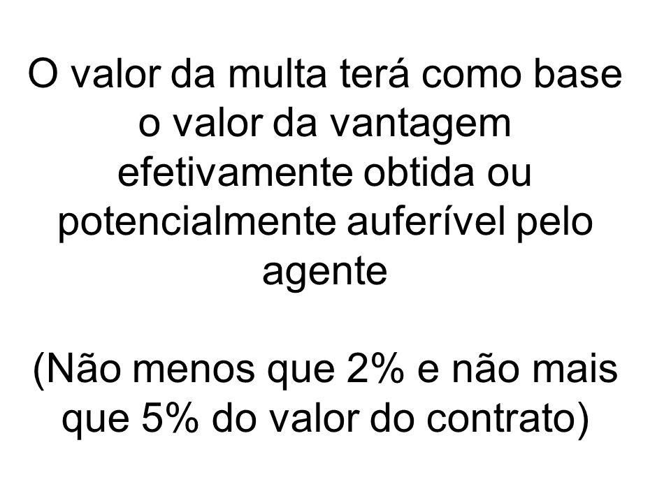 O valor da multa terá como base o valor da vantagem efetivamente obtida ou potencialmente auferível pelo agente (Não menos que 2% e não mais que 5% do