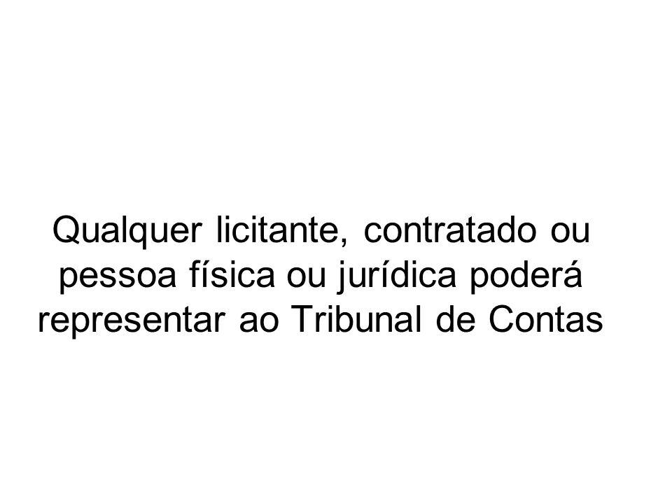 Qualquer licitante, contratado ou pessoa física ou jurídica poderá representar ao Tribunal de Contas