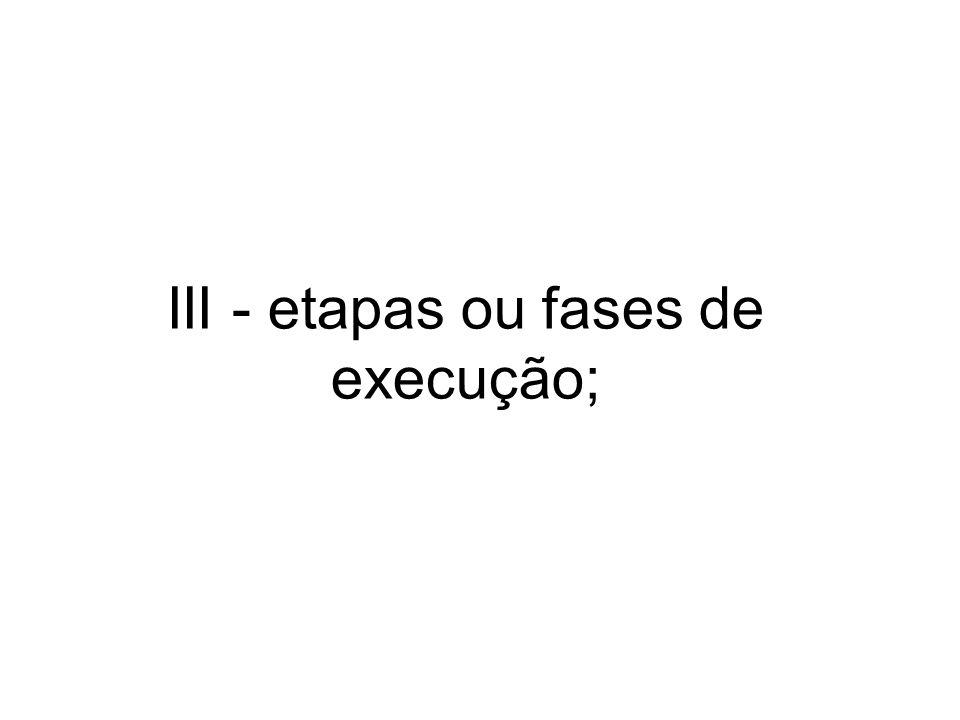 III - etapas ou fases de execução;