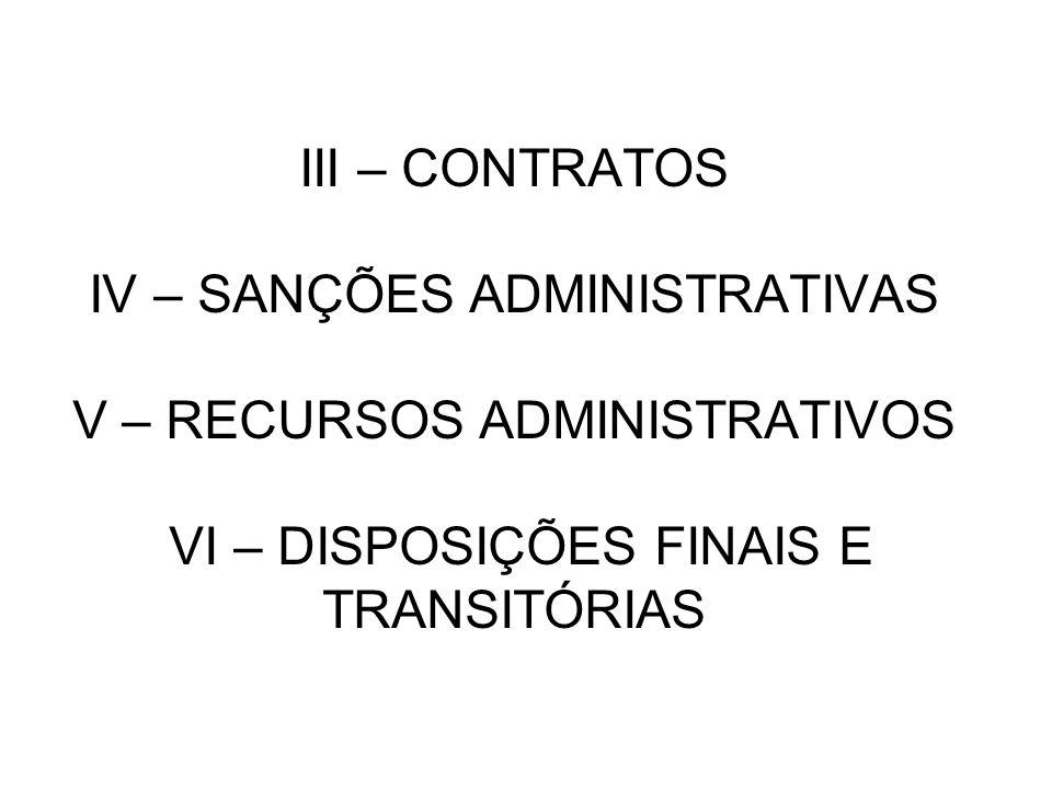 III – CONTRATOS IV – SANÇÕES ADMINISTRATIVAS V – RECURSOS ADMINISTRATIVOS VI – DISPOSIÇÕES FINAIS E TRANSITÓRIAS