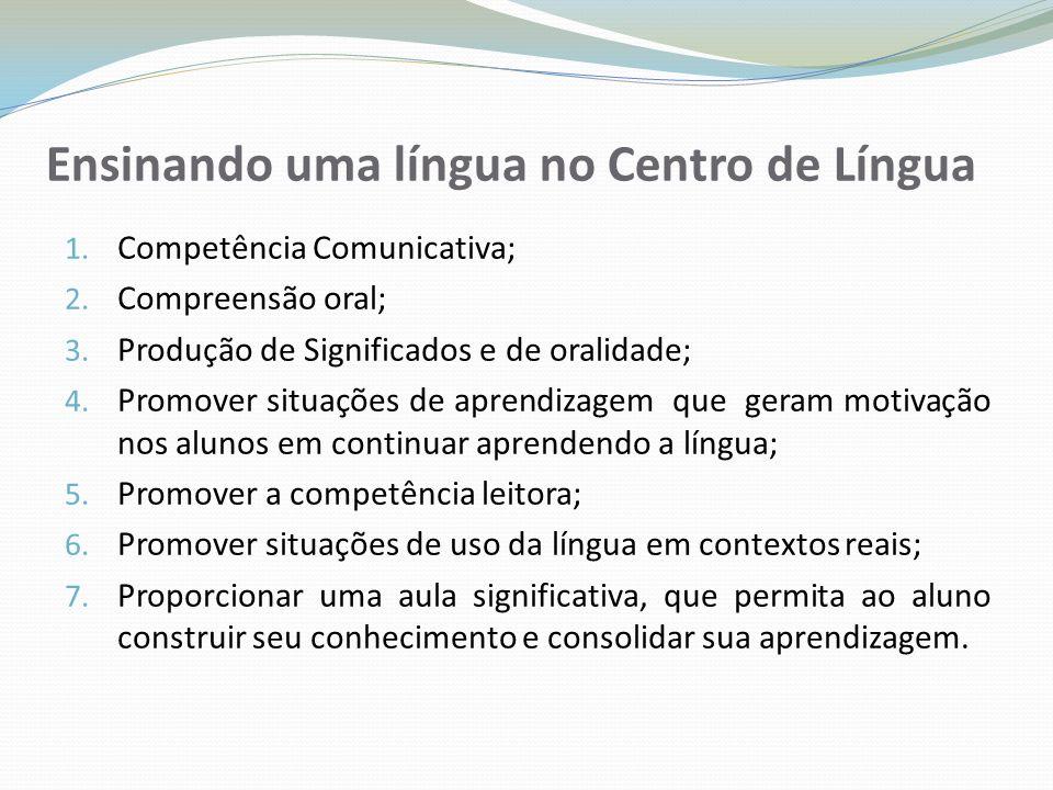 Ensinando uma língua no Centro de Língua 1. Competência Comunicativa; 2. Compreensão oral; 3. Produção de Significados e de oralidade; 4. Promover sit