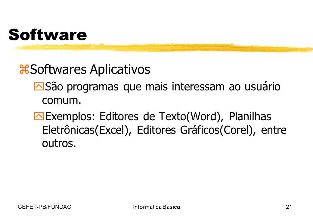 CEFET-PB/FUNDACInformática Básica21 Software zSoftwares Aplicativos ySão programas que mais interessam ao usuário comum. yExemplos: Editores de Texto(
