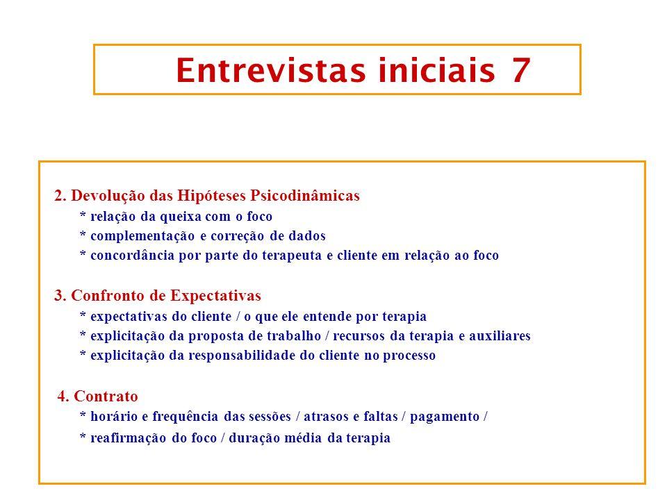 Entrevistas iniciais 6 1. Etapa Diagnóstica 1.1 Diagnóstico Clínico Inicial 1.2 Diagnóstico de como este cliente está/ funciona. a) nível de motivação