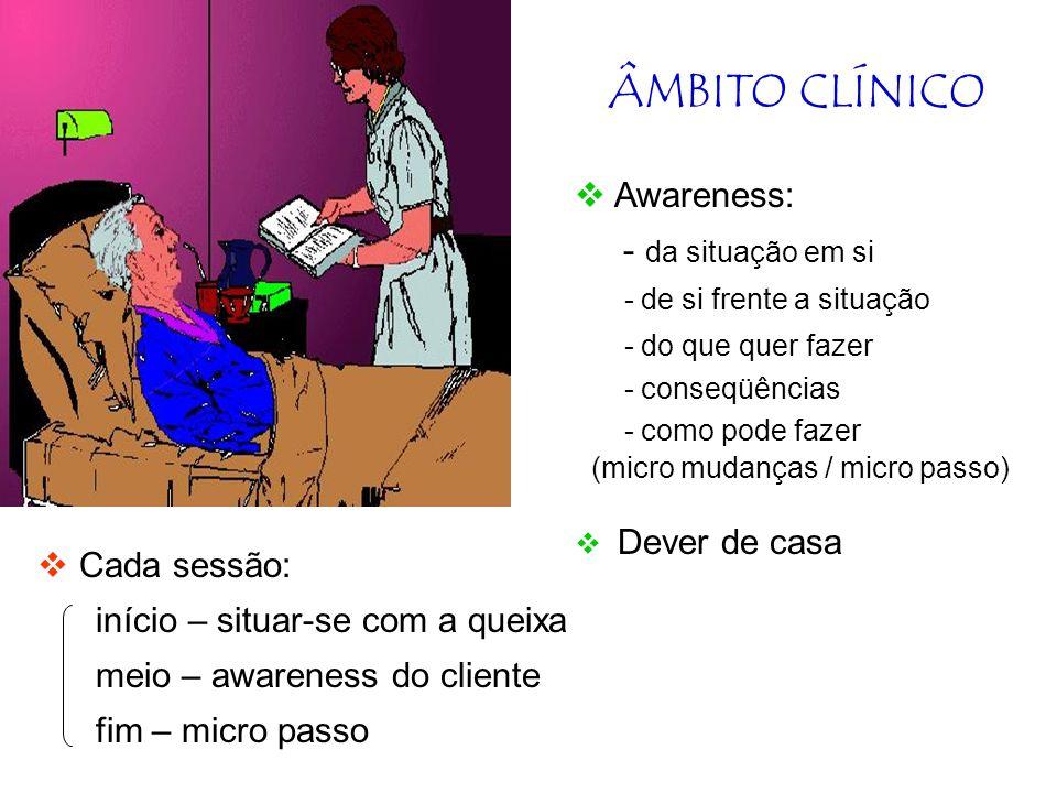 ÂMBITO CLÍNICO Consultório Clínica Hospitalar Ambulatorial Foco parcial Foco parcial (sintoma) a)Hospital b) Consultório / ambulatório - relação com a