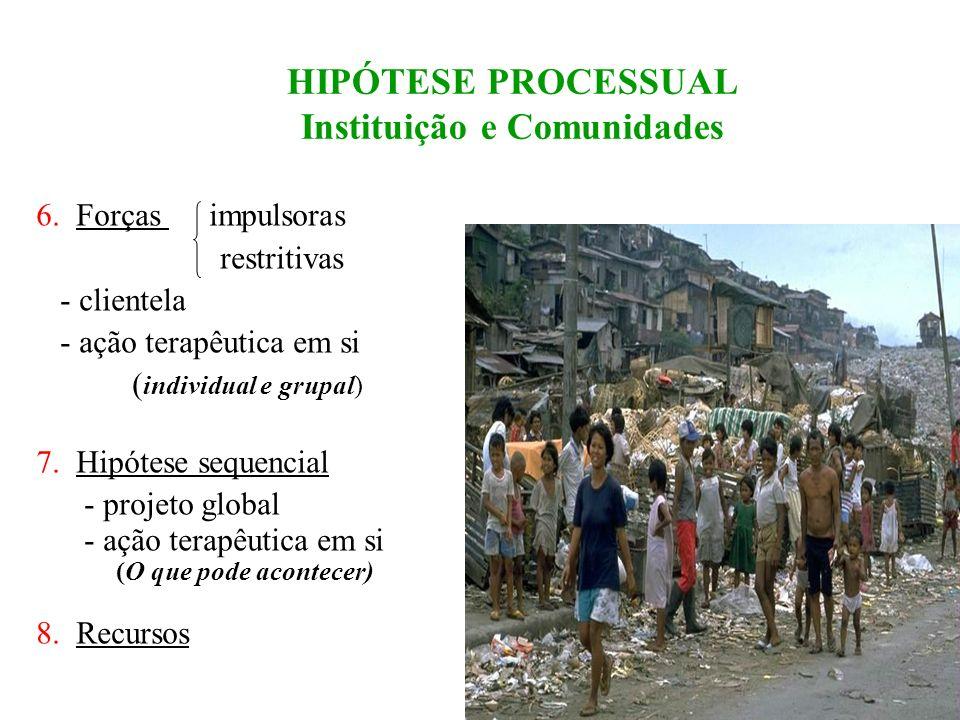 HIPÓTESE PROCESSUAL 2 Instituição e Comunidades 4.Conflitos : - abordados - deixados de lado definitivo ( fogem da ingerência) no momento * Critérios: